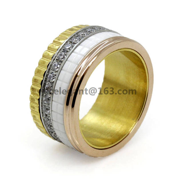 DASR061 062 064 3 colors luxury brand stainless steel women ring, men ring,european wedding crystal jewerly for women