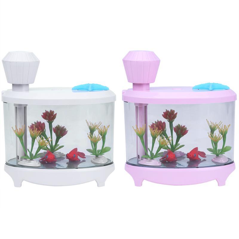 460ML Mini Fish Tank Electric Ultrasonic Aroma Diffuser Mist Maker USB Air Humidifier Oil Diffuser Cool Mist With LED Lights fish oil в аптеке
