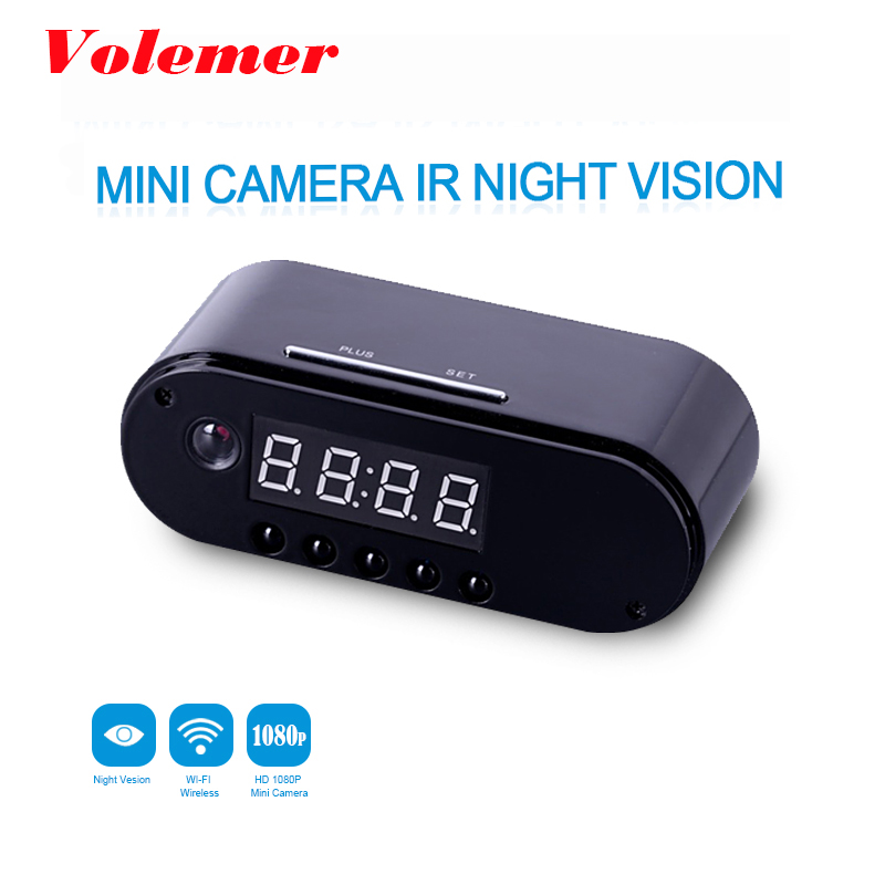 Volemer HD WIFI Mini Camera Clock Night Vision Clock Alarm P2P Livecam IR Smart Recording Camcorder Wifi Remote Control PK Z16 mini camera clock alarm wifi camera p2p livecam ir night vision wifi cam ip 720 mini dv dvr camcorder wifi remote control camera