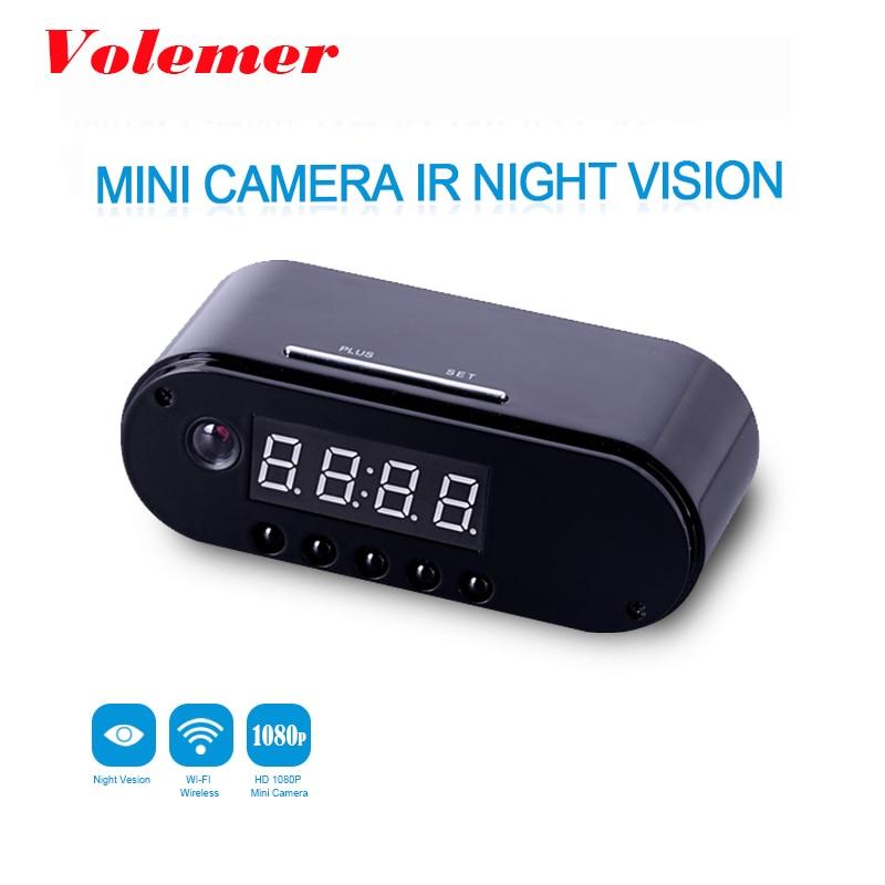 Volemer HD WIFI Mini Camera Clock Night Vision Clock Alarm P2P Livecam IR Smart Recording Camcorder Wifi Remote Control PK Z16