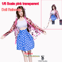 High Quality Transparent Pink Jacket Raincoat For Barbie Doll Rainwear Rainsuit For 1 6 BJD Doll