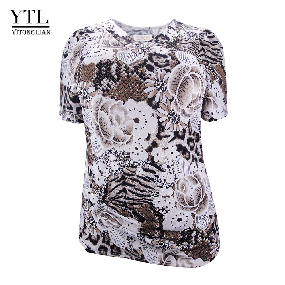 YTL Womens Tops and Blouses 2018 Plus Size Floral Pattern Print Blouse Shirts Women V Neck Boho Short Sleeve Summer Top 8XL H104(China)