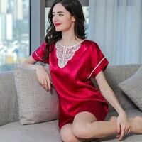 Sexy Real Silk Sleepwear Female Spring Summer Lace Elegant Short Sleeve 100% SILK Nightgowns 2019 New Woman's Nightdress S55146
