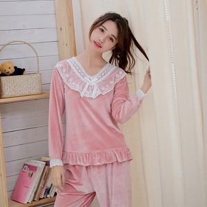Image 3 - Julys Lied Goud Fluwelen Herfst Winter Warme Pyjama Set Vrouwen Pyjama Nachtkleding Lange Mouwen Leisure Homewear 2 Peice Nachtkleding