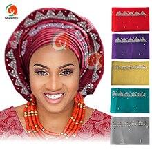 Африканские оптовые продажи ASO OKE gele нигерийский головной убор камни и бусины mutil-цвет длина 8,6 м реальный продукт фото