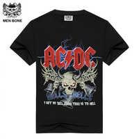 [Men bone] Men's Black T-shirt AC/DC HELLS BELLS Print Cotton acdc T shirts for men Summer brand clothing power heave metal rock