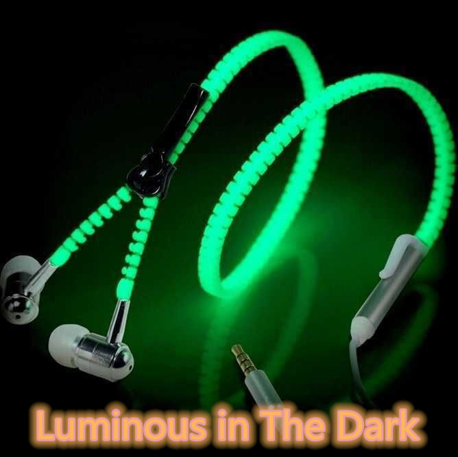 New In-ear Luminous Earphone Glow In The Dark Luminous Headset Metal Earphone Earbuds With Mic Wired Headset For IPhone OPPO