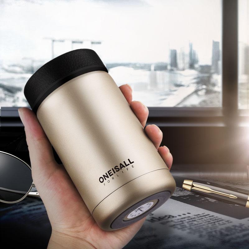 ONE IS ALL Vīriešu dāvanu termosas pudeles 400ml Izolētais kauss 304 Nerūsējošā tērauda termometra ūdens pudele Vakuuma kolba Kafijas vīna krūze