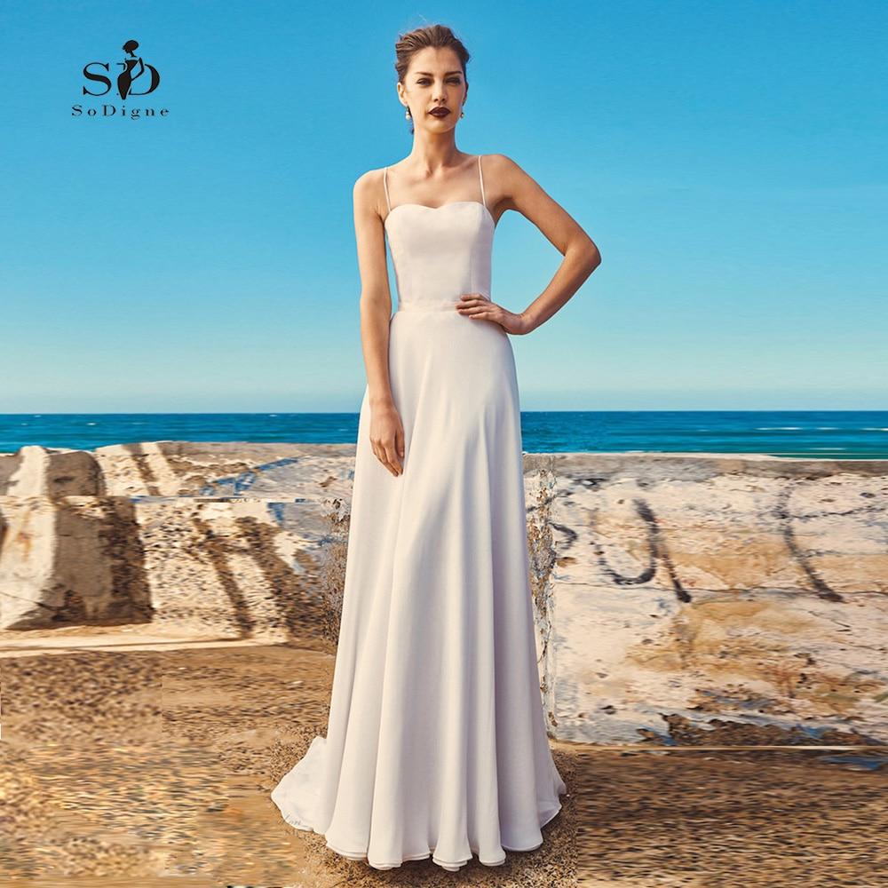 Beach Spaghetti Strap Wedding Gown: Beach Wedding Dress Spaghetti Straps Dress SoDigne Simple