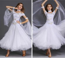 Ballroom Dance Dresses For Women High Quality White Short Sleeve Waltz Tango Flamenco Costume Lady's Dancing Dress