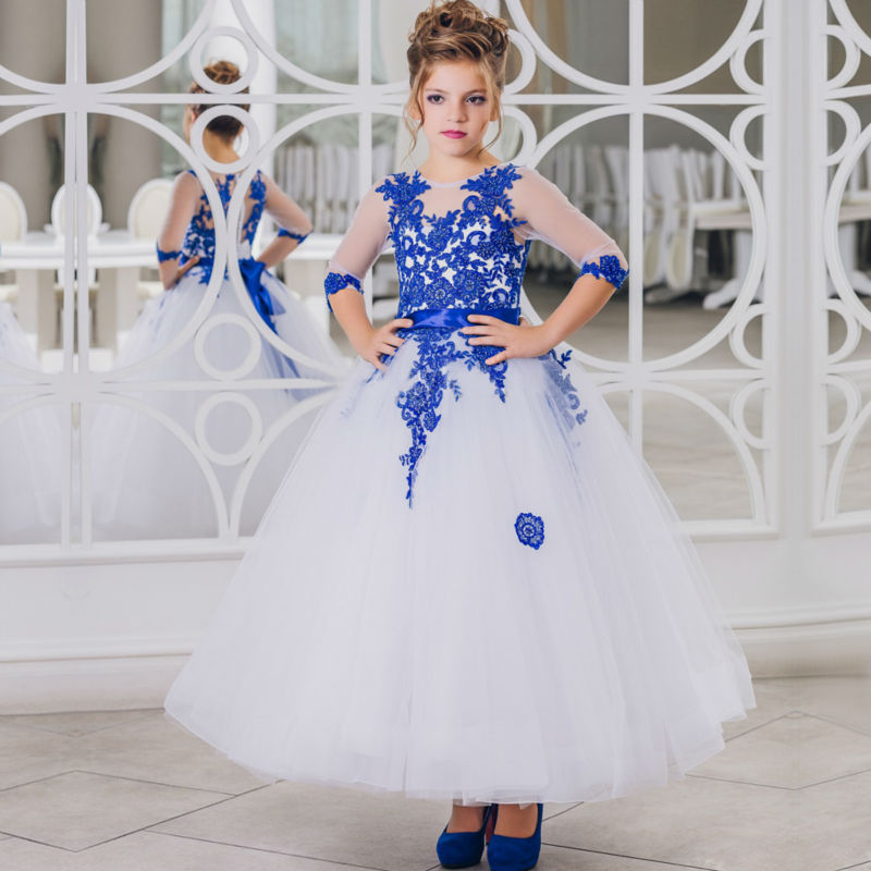 3/4 Sleeve White Tulle Flower Girls Dresses for Wedding Blue Lace Holy Communion Dresses A-Line Mother Daughter Dresses white and ivory lace flower girls dresses for wedding a line spring pretty mother daughter dress tulle pageant dresses for girls