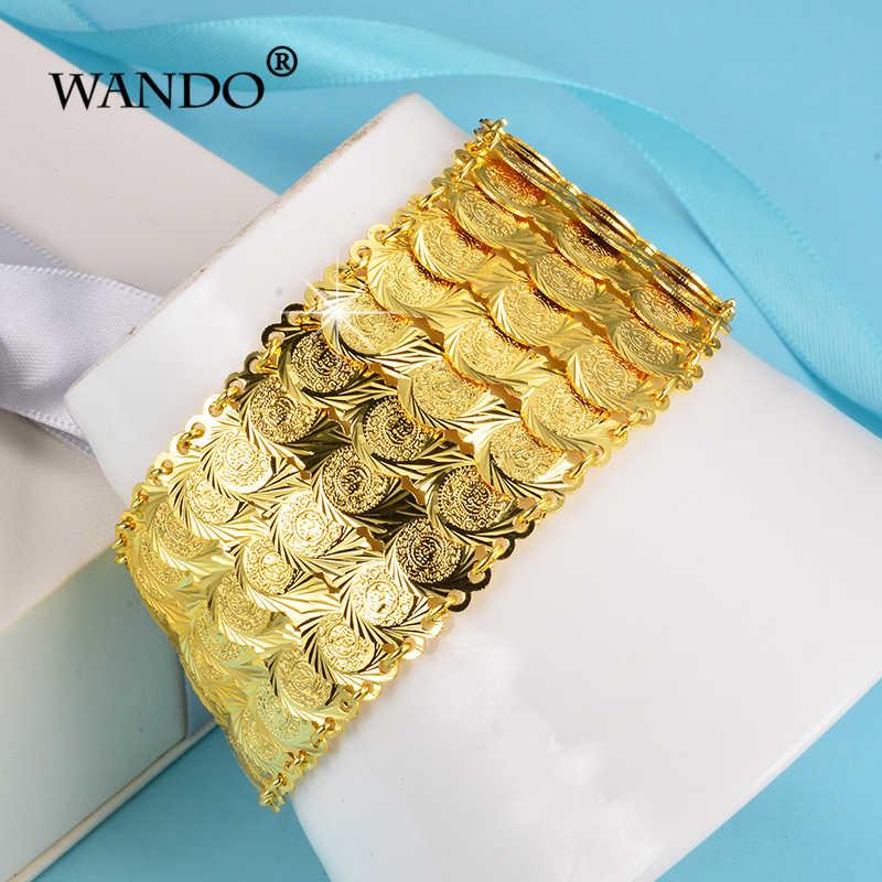 WANDONew כסף רחב מטבע קאף צמיד נשים אמצע מזרח תכשיטי האתני הערבי זהב צבע צמידי אפריקאי מתנה wb156