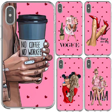 VOGUE Pink coffee Woman girl Boss Soft Silicone Phone Case for iPhone X 5 6 6S plus 7 8 Plus XS MAX XR 10 5S SE Coque Shell