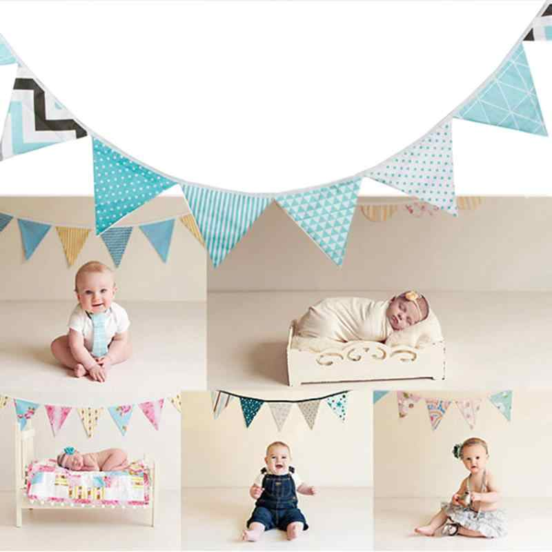 12 Flags 3.2M Colorful Cotton Fabric Bunting Pennant Flag Banner Garland Wedding/Baby Birthday/Christmas Party Decoration