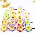 10 смешанный цвет Пены Гавайская Плюмерия цветок Frangipani Цветы свадебный волосы клип 4.5 см