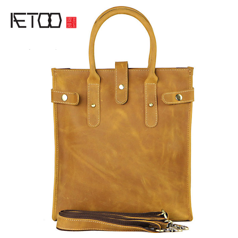 AETOO Europe and the United States crazy horse skin men's handbag vertical section brief briefcase first layer of leather cowboy europe and the united states style first layer of leather lychee handbag fashion retro large capacity solid business travel bus