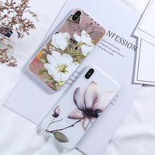 Silicone Phone Case For iPhone 7 8 6 6S Plus X XR XS Max 5 5S SE Luxury 3D Relief Flower Rose Floral Soft TPU Back Cover