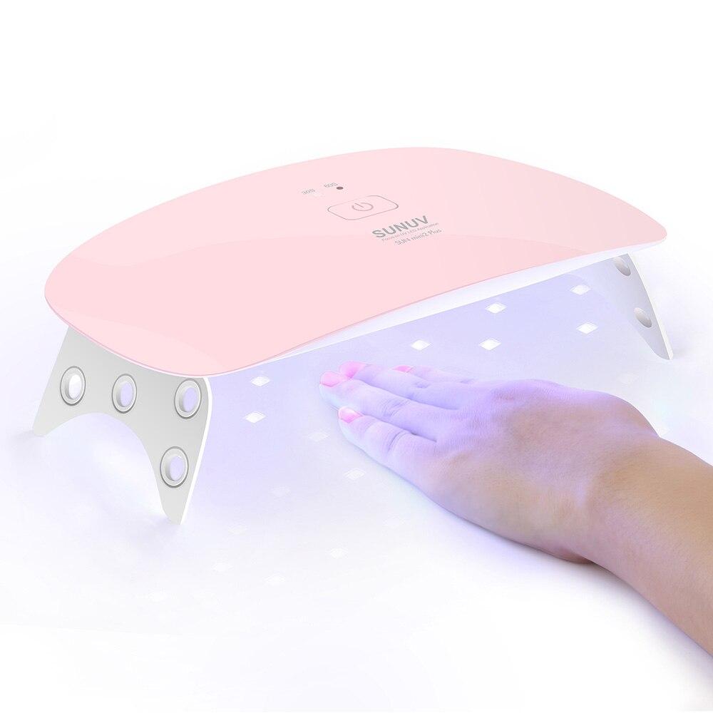 SUNUV Nail Dryer SUNmini2 Plus UV LED Lamp15Leds Curing Thumb Nail Manicure Pedicure Faster USB Charge Europe Adapter