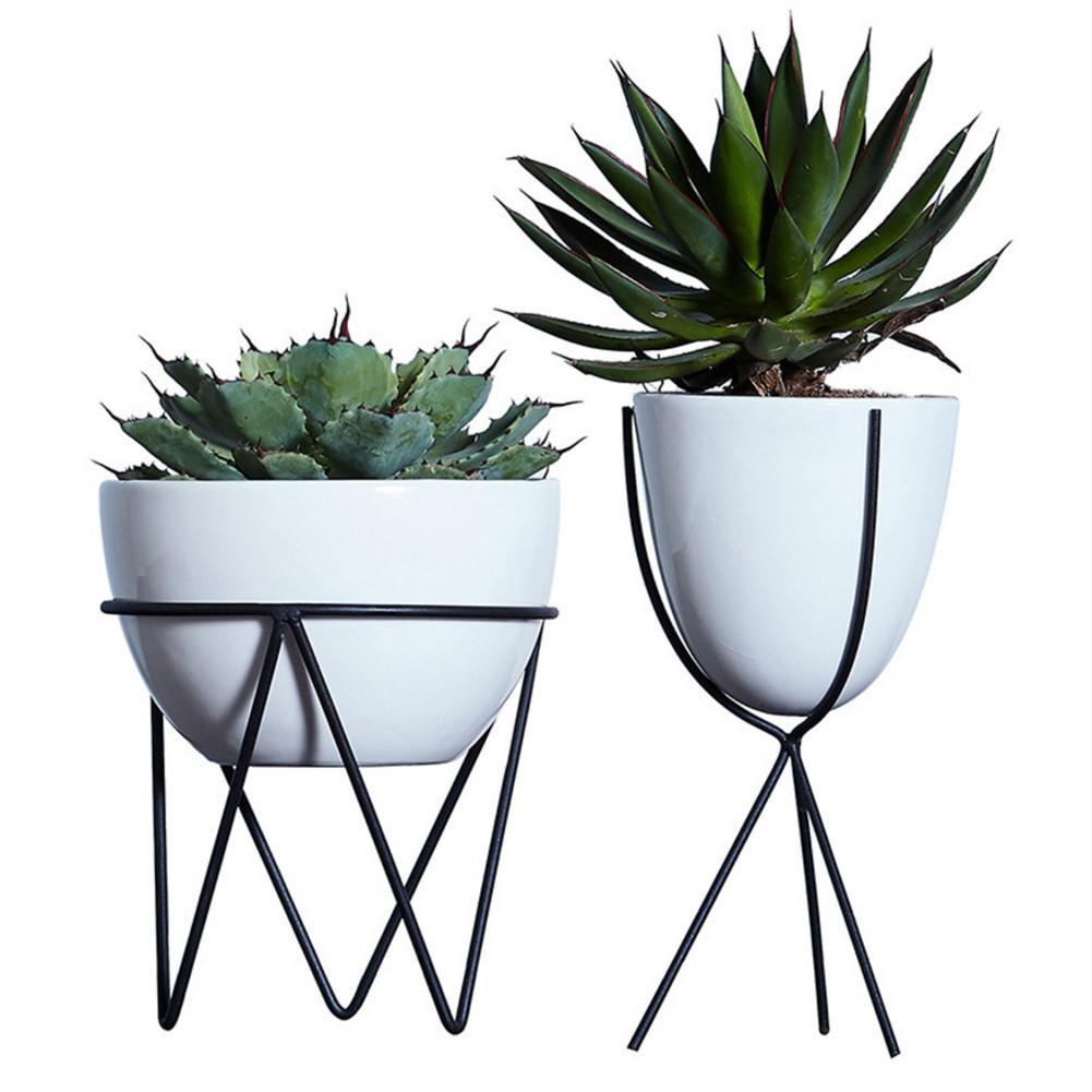 White Ceramic Flower Pot Hydroponic Plants Pot Succulent Plants Pots Interior Desktop Decoration With Iron Holder