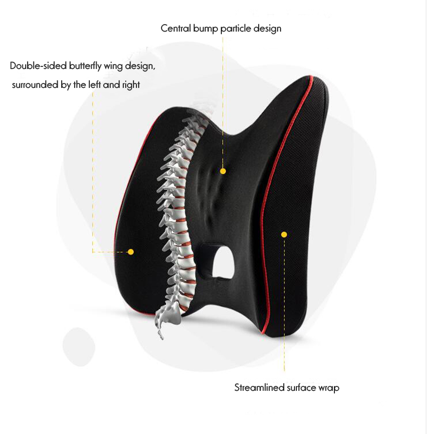 HTB1JhVER3HqK1RjSZFEq6AGMXXad Quality Car Seat Cushion and Back Support Pillow Set Memory Foam Fit Body Curve Relieve Seat Pressure Correct Posture