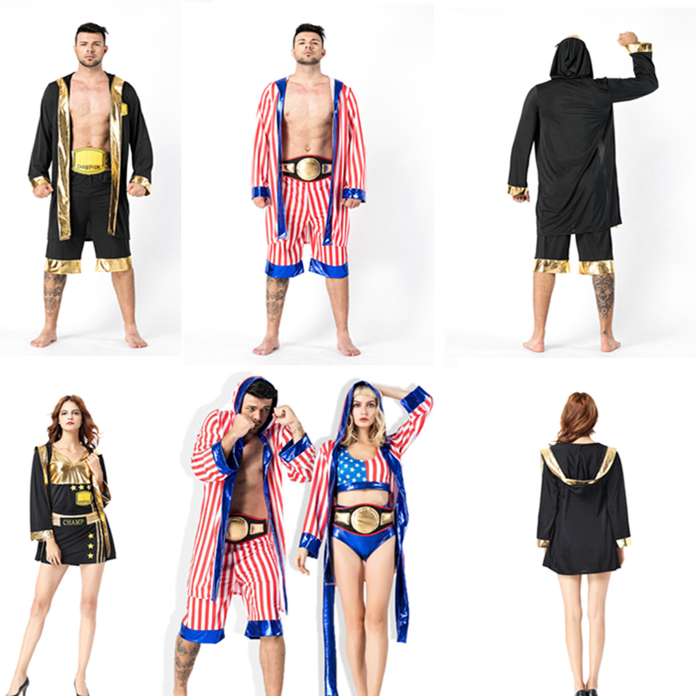 Rocky Balboa Apollo Movie Boxing American Flag Cosplay Costumes Men And Women Shorts Robe Boxing Costume Boxing Training Outfit
