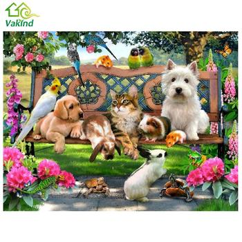 30*40cm New DIY 5D Animal Paradise Diamond Stitch Kit Dog Cat Diamond Embroidery Painting Cross Stitch Home Decor Craft αυτοκολλητα τοιχου καθρεπτησ