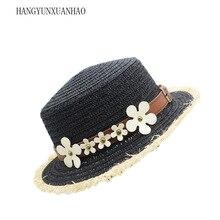 Hot Sale+Flat Top Straw Hat Summer Spring Womens Trip Caps leisure Lafite Beach Sunhat Breathable Fashion Parent-child Sun