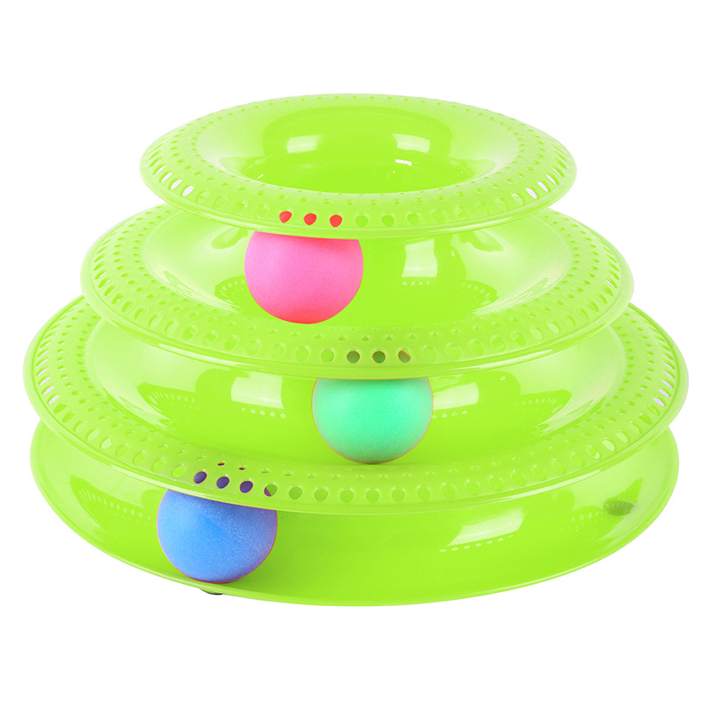 Pet Intelligence Amusement Three Levels PlasticTower Tracks Disc Cat Pet Toy Rides Shelf Cat Toys Training Amusement Ball New