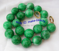 free shipping >>stunning big 20mm round green Natural stone crude * beads necklace