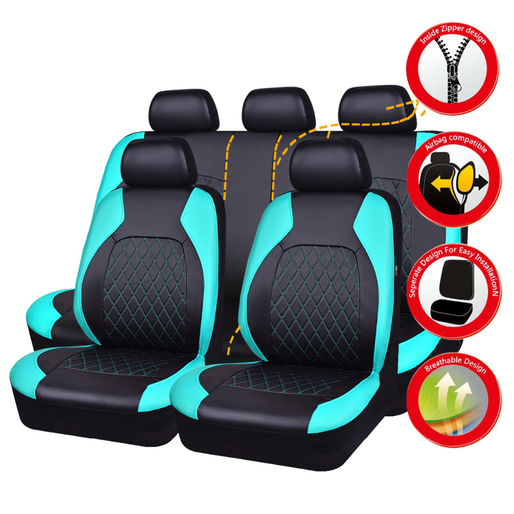 Car seat cover lock pu leather blue green colors car goods seat cover set fit for Lada Kalina granta ford focus 2 renault logan 5 seats set new luxury pu leather auto universal car seat covers for automotive toyota lada kalina granta priora renault logan