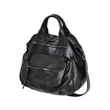 women novelty black washed pu leather tote handbag female causal large capacity one shoulder messenger bag soft crossbody bag