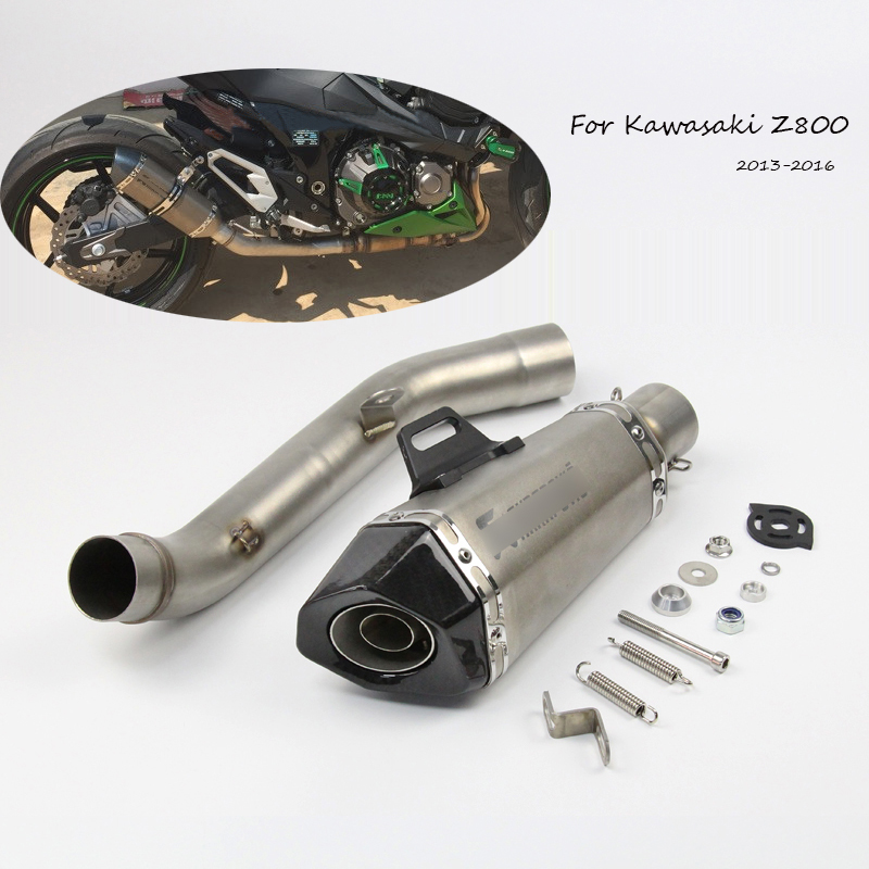51mm Motorcycle Exhaust Muffler Tail Pipe +Middle Link Pipe Tube Escape Modified For kawasaki Z800 2013 2014 2015 2016 Slip On