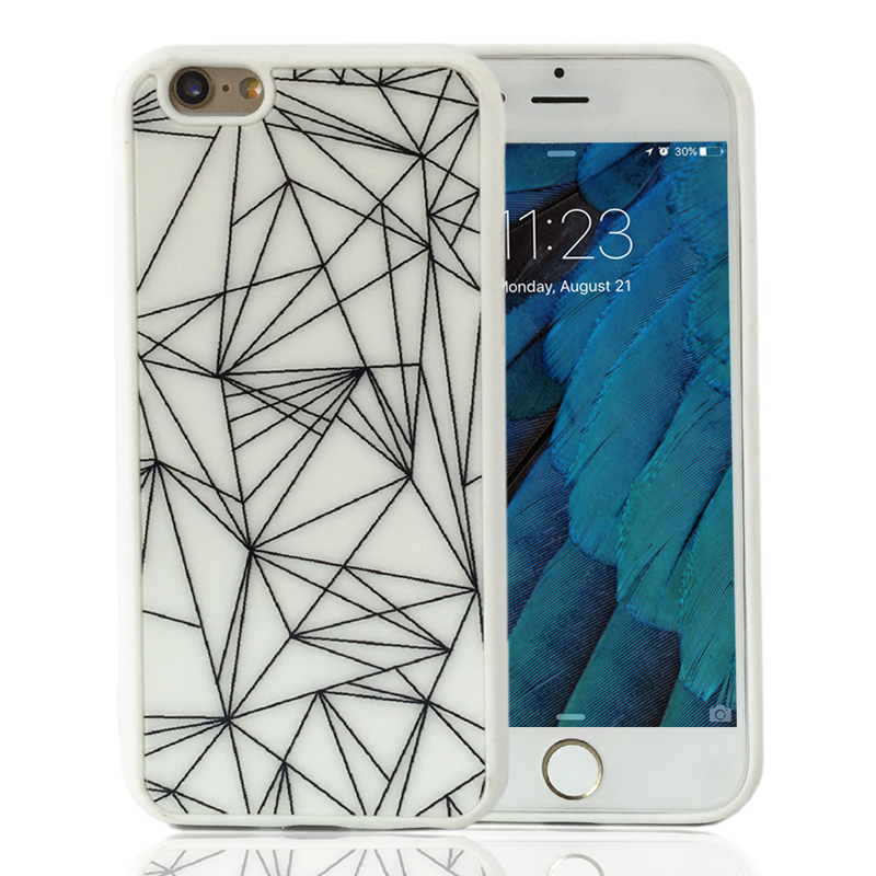 Antiknock Simple Style Black White lines Soft Phone Case