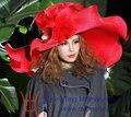 Бесплатная доставка EMS Доставка Горячей Продажи Моды Новый Элегантный Формальные Женщины шляпы Большой Брим Волны Брим Красный Преувеличены Женщины Fashion Show шляпа