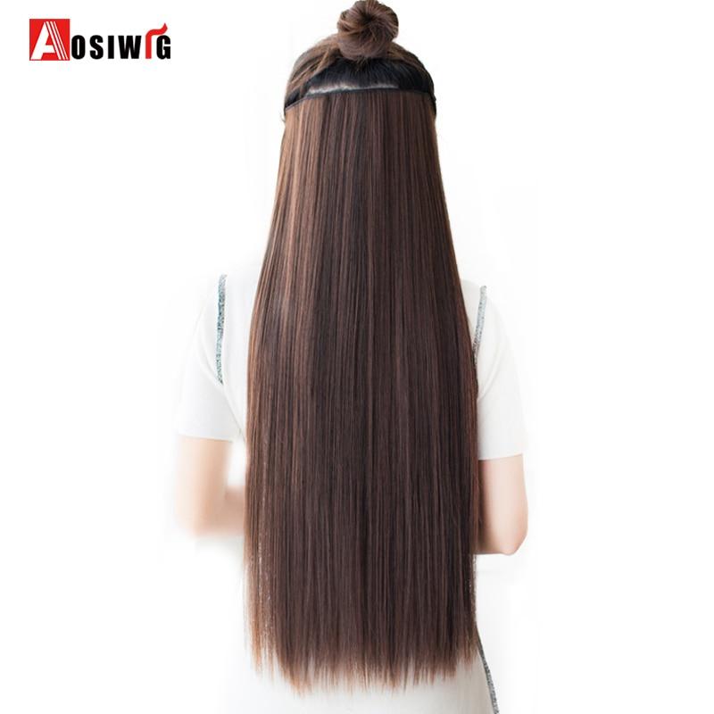 AOSIWIG Long Straight Women 5 Clip i hårförlängningar Black Brown - Syntetiskt hår