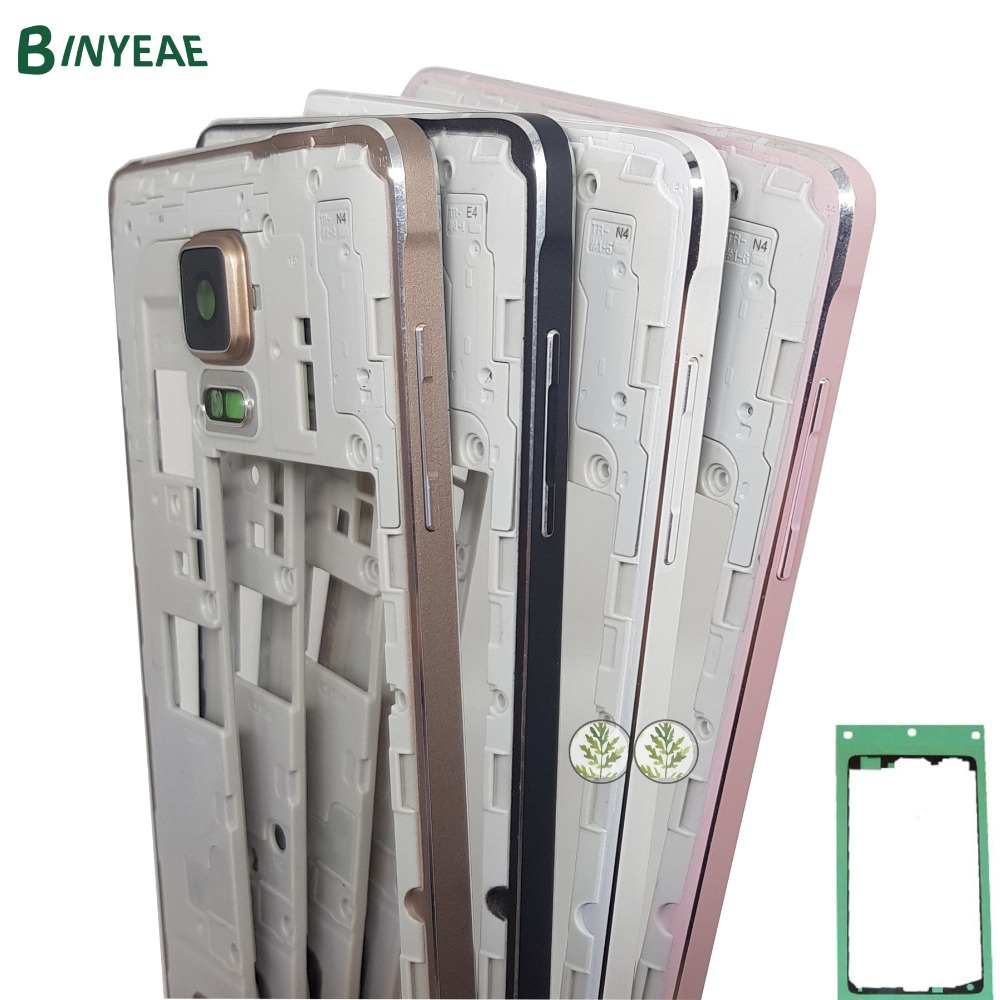 For Samsung Galaxy Note 4 N910F N910A N910G N910T N910C N910W8 Middle Frame Bezel Chassis Housing+Adhesive Black White Gold Pink