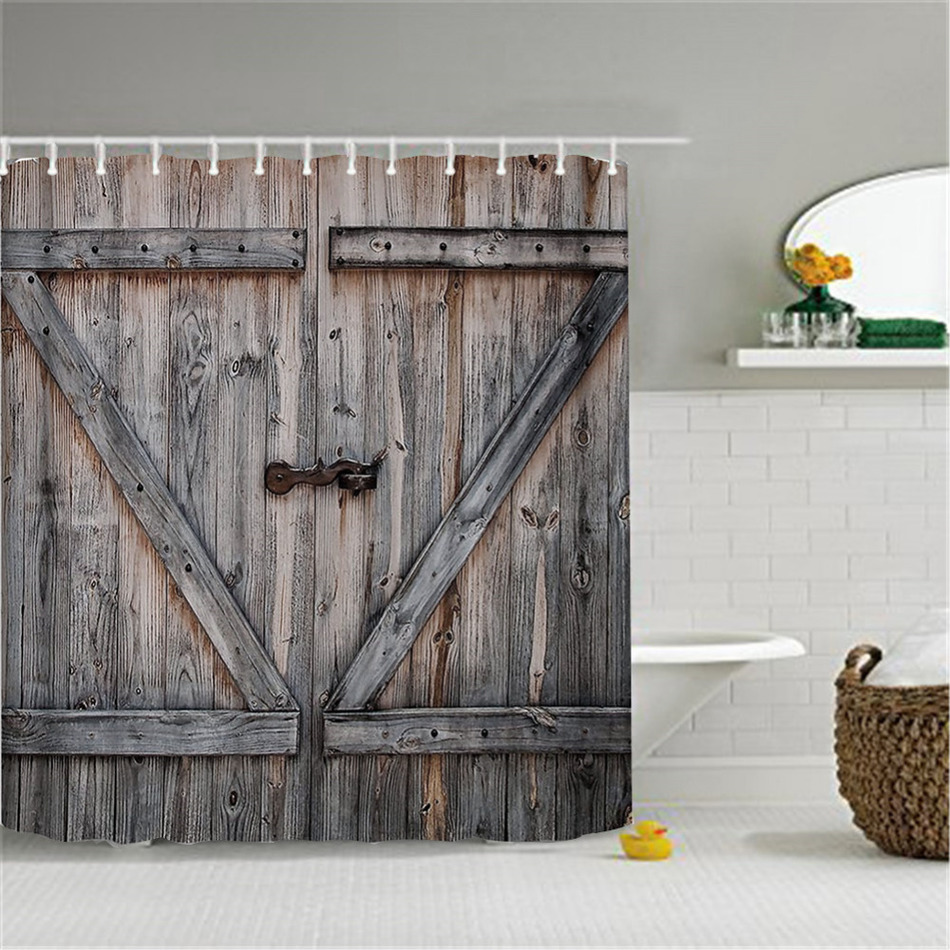 Badezimmer Country Style Us 12 63 41 Off Polyester Shower Curtain Old Bronze Wooden Garage Door Vintage Rustic Shower Curtain American Country Style Bathroom Decor Art In