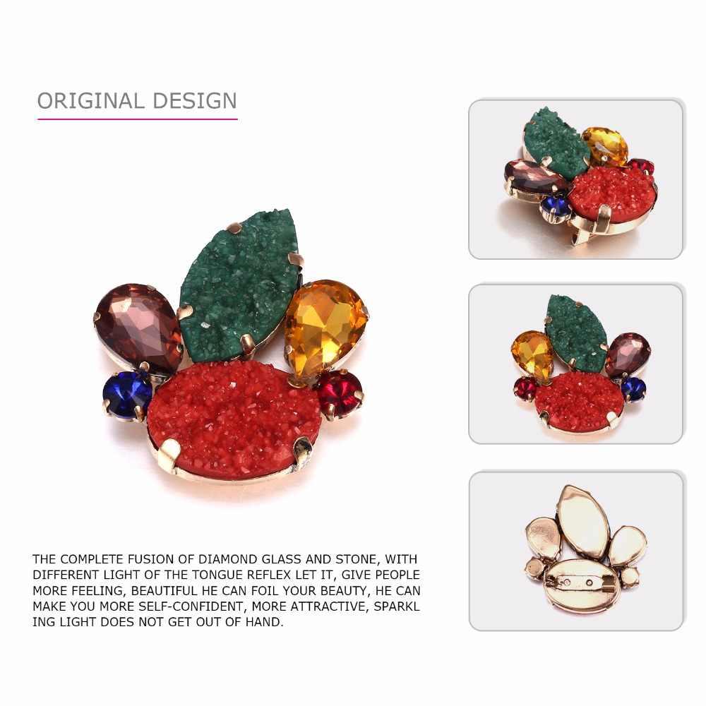 Emanco Vintage Geometris Bunga Bros Pin untuk Wanita Kristal Resin Bros Pakaian Aksesoris Fashion Perhiasan