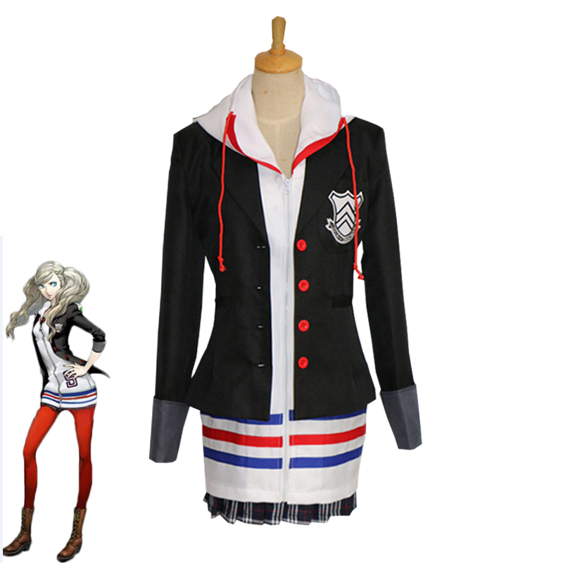 Game Persona 5 Anne Takamaki Cosplay Costume Japanese Girls School Uniform Halloween Carnival Outfits Jacket Hoodie