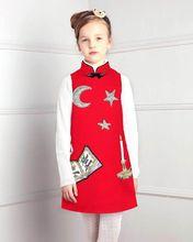 2016 Мода Китайском Стиле Цветок Книга Печати Хлопок детская Ткань Дети Qipao Платье Без Рукавов Осень Зима девушки Платье