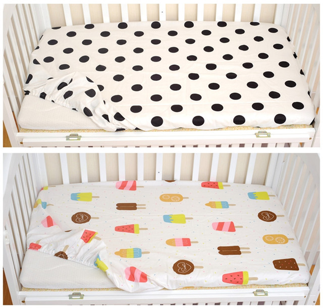 Baby Bed Sheet Ctotton Classic Polka Dot Ice Cream Pattern Baby Fitted Sheet Children Favorite Baby Bed Sheet For Crib Adornmen