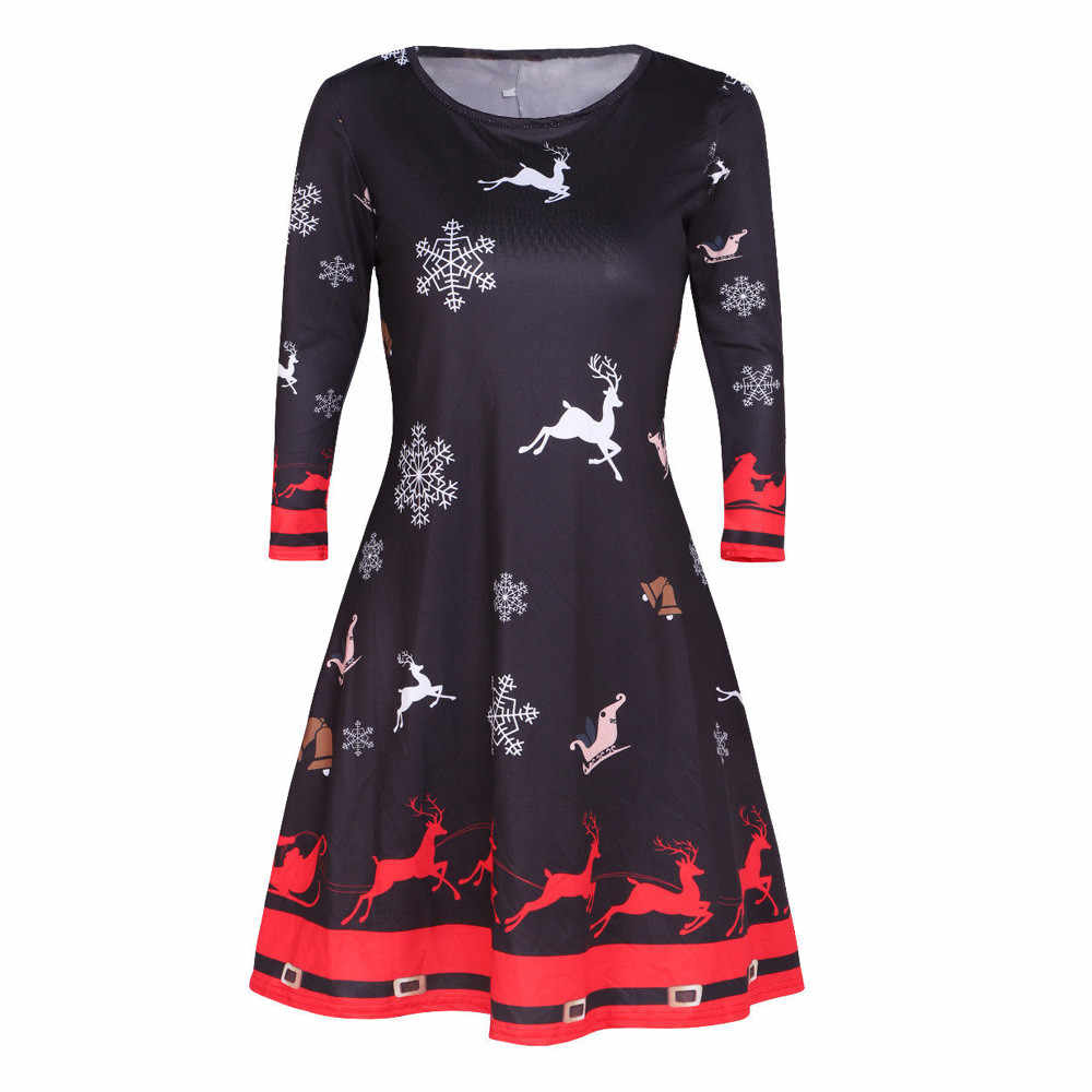 e7f6a6a17e CHAMSGEND Women Christmas Dress High Quality Womens Santa Skater Ladies  Snowman Swing Dress Vintage O-