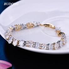 BUDONG Bracelet Women Fashion Oval Austrian White Crystal CZ Link Chain Metal Silver/Gold Color Bangle Wedding Jewelry XUL155