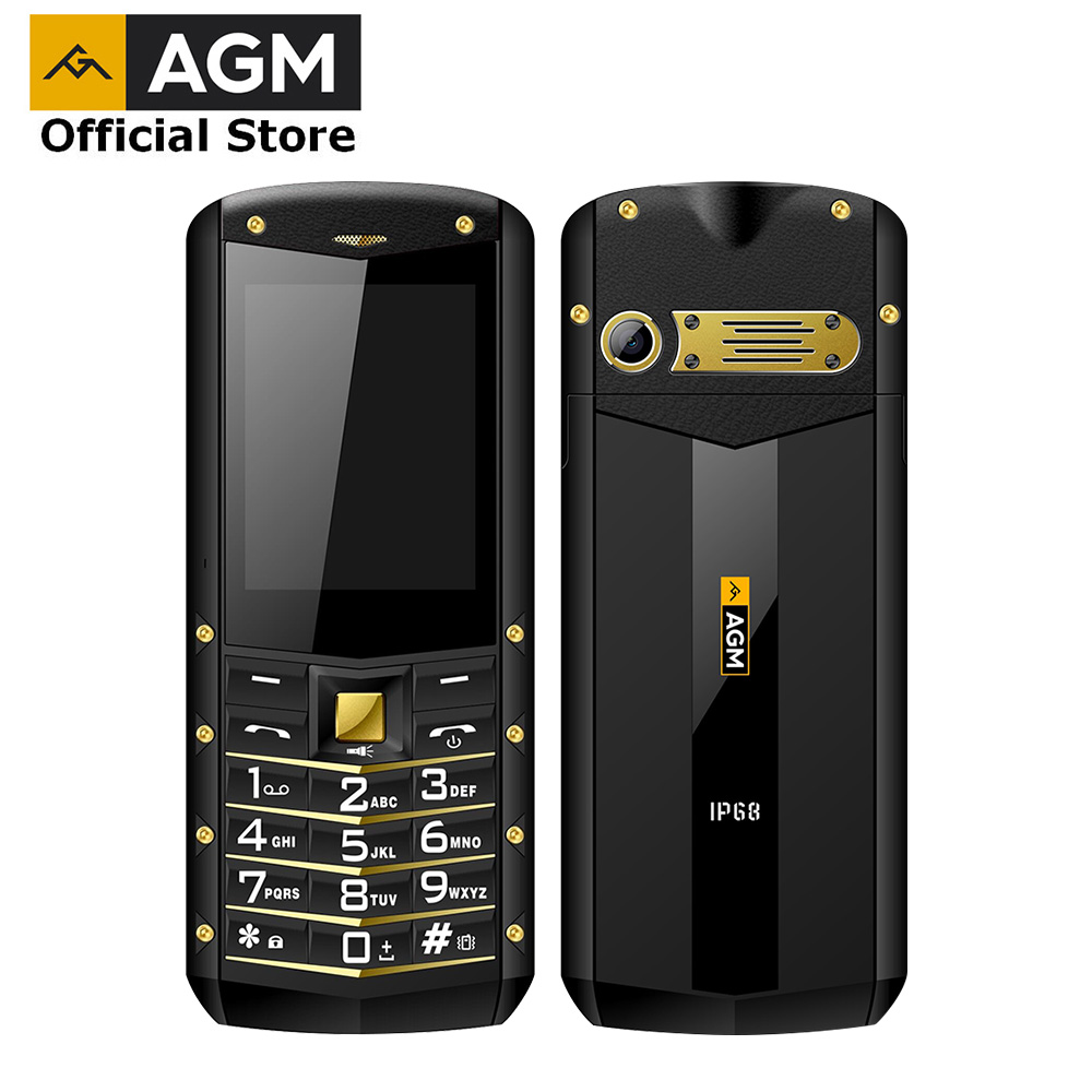 (Soutien RU Langue) AGM M2 2.4 Robuste Téléphone Dual SIM Arrière 0.3MP Extérieure Téléphone IP68 Étanche Antichoc lampe de Poche 1970 mah