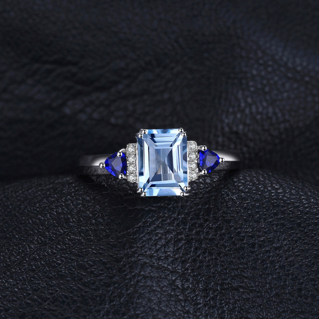 JewelryPalace Elegant 1.9ct Top Natural Sky Blue Topaz & Created Sapphire Engagement Rings For Women 925 Sterling Silver Jewelry