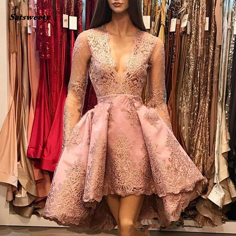 2019 Pink A-Line Deep V-Neck   Bridesmaid     Dresses   Illusion Long Sleeves Lace Hi-Lo Party Queen Prom   Dresses