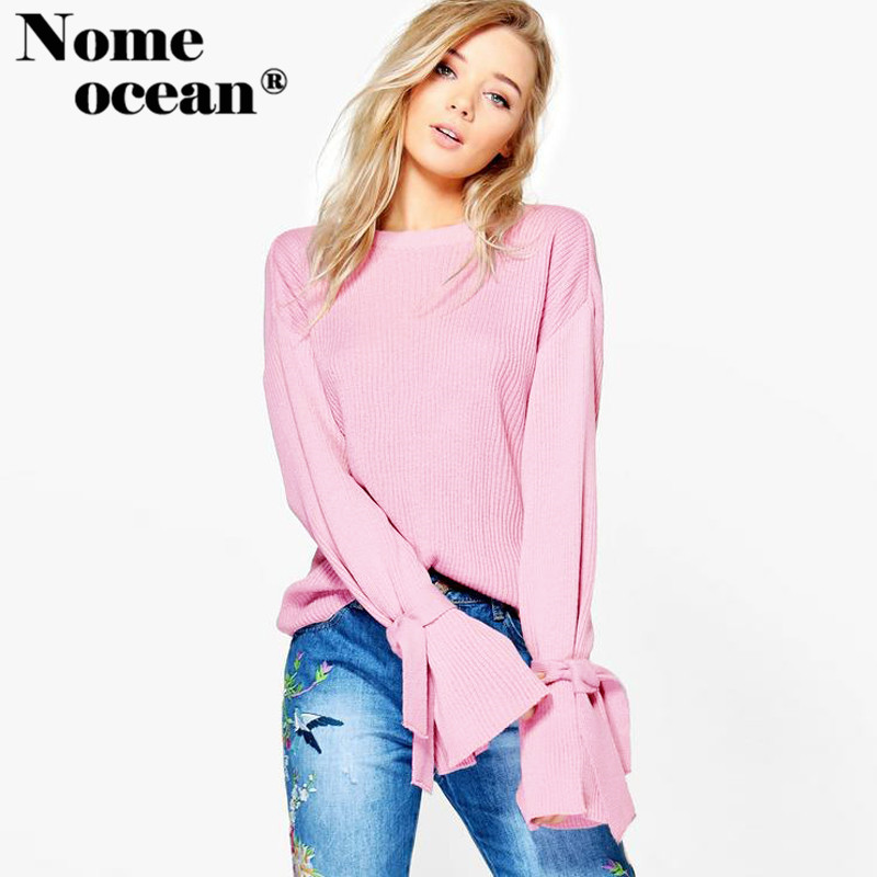 Lace-up Slit Cuffs Long Sleeve Sweaters of Women 2017 Autumn Knitted Pullover Sweater Hollow Out Tops of Women Sweater M17091403