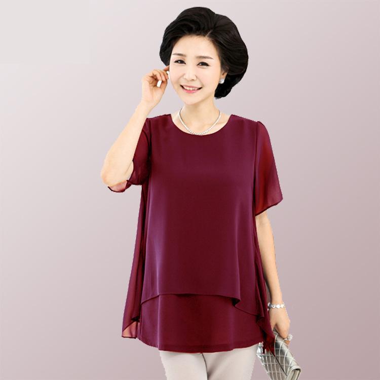 4e2849d00de6 Women Summer Oversize Blouses Mother Loose Clothing Plus Big Size Female  Red Fake 2 Piece Chiffon Shirt Tops 5 xl 6 xl 7xl -in Blouses   Shirts from  Women s ...