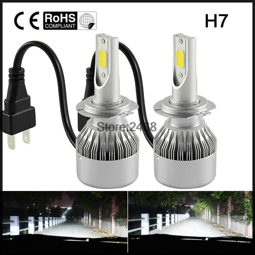 2x H7 COB Led Beam 72W Replacement Daytime Running Lights DRL Fog Headlight Conversion Driving Bulb white golden