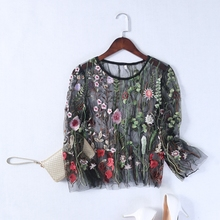 FREE SHIPPING Tops Shirt Floral Lace Mesh Transparent JKP839